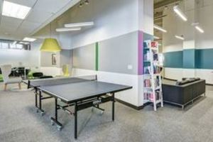 game room and library spaces carousel